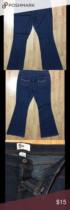 Women's boot cut jeans size 17 from SO Boot cut jeans for women. Size 17. They are from SO and they are dark blue.  In great condition!!  I normally ship the same day or the day after!! SO Jeans Boot Cut