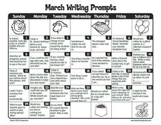 FREE printable March Writing Prompts Calendar: Perfect for journal writing or writing center. Thanks Lakeshore Learning! prompts for kids Writing Prompts 2nd Grade, Kindergarten Writing Prompts, Writing Prompts Funny, Journal Writing Prompts, Writing Prompts For Writers, First Grade Writing, Picture Writing Prompts, Teaching Writing, Journal Topics