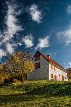 Stone cabin in autumn, Lavina, Italy