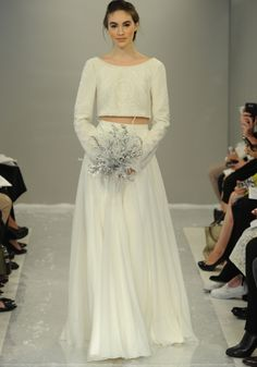 Simple crop top wedding gown by Theia