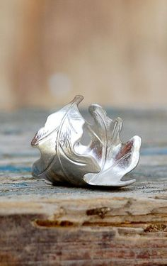 Silver LEAF Ring Romantic Vintage Style Leaf Autumn
