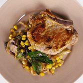 Michael Symon's Pork Chops with Basil Creamed Corn
