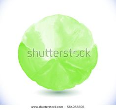 Green watercolor design element  isolated on white background. Light green painted vector stain.  Green vector isolated watercolor paint circle