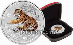 Australia 2010-P Year of the Tiger Chinese Lunar Zodiac $1 1 Ounce Pure Silver Dollar Reverse Proof with Color CX