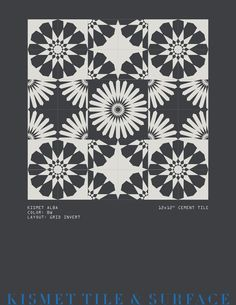 """ALBA pattern 12x12"""" cement tile, customizable, other layouts available. Area shown represent 6' x 6'. Surface Design, Cement, Layouts, Pattern, Tile, Mosaics, Patterns, Tiles, Model"""