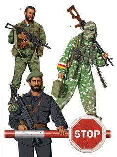 North Caucasus: 1: Chechen soldier, Vostok Batallion, Georgia, 2008; 2: Senior sergeant, Kadyrov Special Purpose Police Regiment, Grozny, 2011; 3: South Ossetian irregular, Gori, 2008