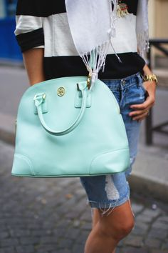Tory Burch Robinson Bag...Is there any better color than Tiffany Blue?  I don't think so!