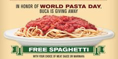 FREE Spaghetti at Buca di Beppo on 10/25 on http://www.icravefreebies.com/