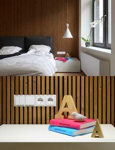 wooden wall in bedroom.