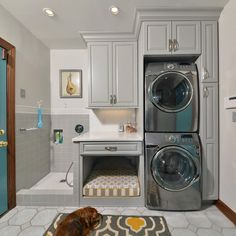 Dog's own Bed and cleaning shower, great idea for laundry room. #rodeoand5th #luxury #home #interior #ideas #dog