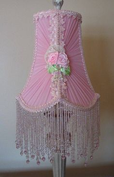 10 Powerful Tips AND Tricks: Lamp Shades Bedroom Burlap tall lamp shades etsy.How To Painting Lamp Shades. Pink Lamp Shade, Old Lamp Shades, Shabby Chic Lamp Shades, Shabby Chic Pink, Shabby Chic Cottage, Vintage Shabby Chic, Shabby Chic Style, Shabby Chic Decor, Vintage Decor