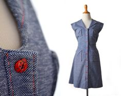 Denim Dress Ladybug Dress 1960s Dress 60s by MissouriCrossing