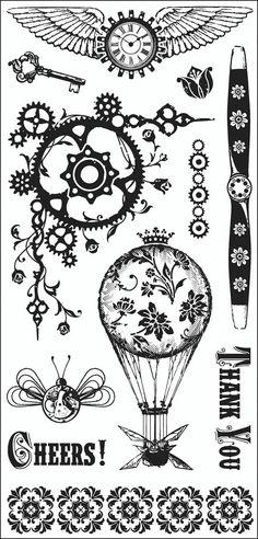 "Inkadinkado Clear Stamps 4""x8"" Sheet Steam Punk | eBay"