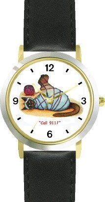 Siamese Cat Tied Up - Cat Cartoon or Comic - JP Animal - WATCHBUDDY® DELUXE TWO-TONE THEME WATCH - Arabic Numbers - Black Leather Strap-Size-Children's Size-Small ( Boy's Size & Girl's Size ) WatchBuddy. $49.95