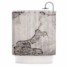 Sylvia Cook Crumbling Wall Brown Gray Shower Curtain