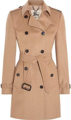 Burberry - The Kensington Mid Wool And Cashmere-blend Felt Trench Coat - Camel