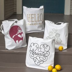 With glitter iron-on and a cutting machine, these totes are so easy to make. Templates included.