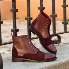Custom Made Women's Lace Up Captoe Boot in Burgundy Luxe Suede and Painted Calf Leather From Robert August. Create your own custom designed shoes. Custom Made Shoes, Custom Design Shoes, How To Make Shoes, Lace Up Boots, Calf Leather, Designer Shoes, Fashion Shoes, Men Fashion, Chelsea Boots
