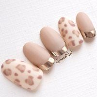 Nude gel nails with prints - LadyStyle Leopard Nails, Nude Nails, Matte Nails, Diy Nails, Korean Nail Art, Korean Nails, Nail Art Modele, Nail Art Designs Videos, Animal Nail Art