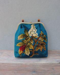 Blaugrün Floral Bag, Boho Vintage Frottee Stickerei, Leder, Seide, Kiss-Lock, bunte Tasche