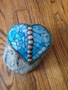 Sky Blue with Blue Beads and Silver Jewelry Heart by MayhewMosaics, $45.00 Mosaic Rocks, Stone Mosaic, Heart Jewelry, Silver Jewelry, Unique Jewelry, Painted Stones, Blue Beads, Stone Painting, Turquoise Bracelet