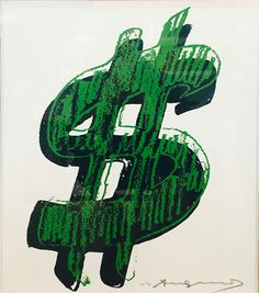 Single Dollar Sign F. II 278 by Andy Warhol (Green). The Dollar Sign series by Andy Warhol reflected the fact that artists are metaphors for money. Andy Warhol Pop Art, Jean Michel Basquiat, Pop Art Movement, Dollar Sign, Painted Signs, Screen Printing, Original Artwork, Contemporary Art, Artsy