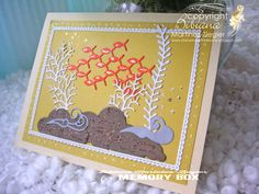 summer yellow fish card using memory box dies Fish Card, Yellow Fish, Memory Box Dies, Ocean Themes, Card Making, Arts And Crafts, Stamp, Craft Ideas, Memories