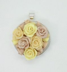 Polymer Clay necklace- yellow neutral beige flower Roses by NadoandLola on Etsy