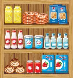 Imagen de un bastidor de madera con los productos de la tienda. photo