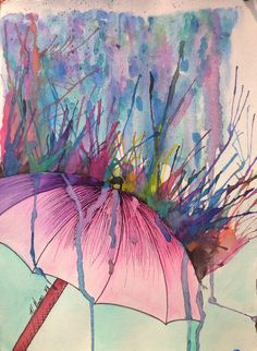 Watercolor & Ink. High School Painting & Mix Media.  Choose subjects that air, water, etc would bounce off of