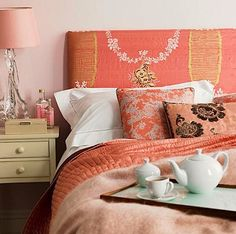 Salmon pink bedroom...girly, pretty, sweet.