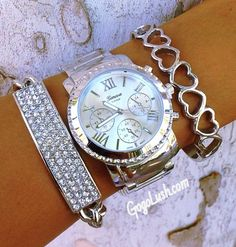 Silver hearts and watch jewelry set