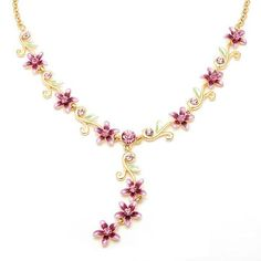 Glamorousky Purple Flowers Golden Necklace with Austrian Element Crystals (1767) ** Learn more by visiting the image link.