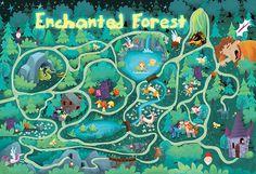 Enchanted Forest on Behance Julie Cossette Quebec, Canada Mountain Illustration, Illustration Story, Forest Illustration, Enchanted Forest Book, Enchanted Forest Coloring Book, Map Games, Board Games, Forest Map, Cute Games