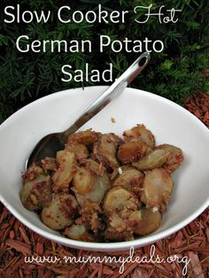 Slow Cooker Hot German Potato Salad. My grandma used to make this, and so does my mom. Ultimate comfort food.