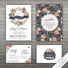 Motywem przewodnim zaproszenia są kwiaty malowane akwarelą. W eleganckim, projekcie kwiecisty wianek został połączony z kontrastującym granatem.