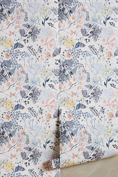Rose Petals Wallpaper #anthropologie for the laundry room with light gray paint like the rest of the house on most of the walls and wallpaper on just one wall