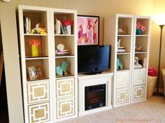 IKEA Expedit hack with O'verlays and other goodies from Furbish Studio, Parima Studio, Home Goods and Target! #gold #fireplace #ikea