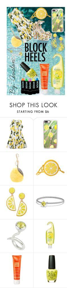 """Avalon's Look Book #2: Make Lemonade"" by lilaparks on Polyvore featuring Casetify, Dolce&Gabbana, Celebrate Shop, David Yurman, Annika Burman, Avon, Hampton Sun and OPI"