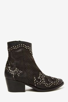Jeffrey Campbell Paxton Perforated Leather Studded Boots