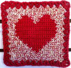 square heart dish cloth