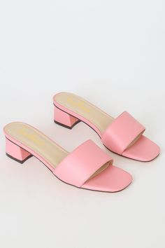 Keep things cute with the Lulus Janiya Light Pink High Heel Sandals! Sleek vegan leather creates a wide toe band, a square toe bed, and a slide-on design. Low Heel Sandals, Pink Sandals, Low Heel Shoes, Ankle Strap Heels, Suede Sandals, Flats, Light Pink High Heels, Toe Band, Fashion Eye Glasses