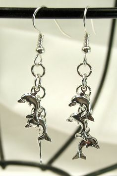 Womens Earrings Dolphin Jewelry Tiny Dolphin by PrettyThingsMuse, $12.00
