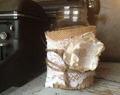 Rustic Wedding Decor for 10 Jars, Rustic Centerpiece, Burlap Mason Jar Centerpiece,  DIY Vintage Wedding Decor