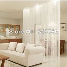 White Fringe Door Window Panel Room Divider String Curtain Strip