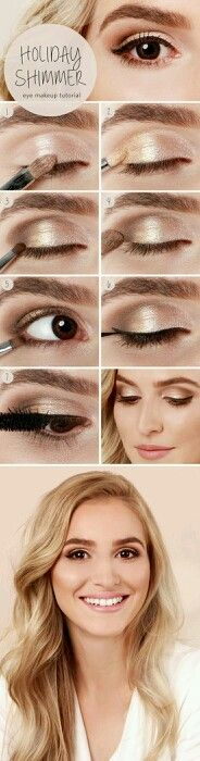 .Holiday Shimmer. That's an idea! Black eyeliner up top to help fill in the look of eyelashes, and then brown on the bottom. brown eyeliner looks excellent on me.