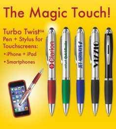 Stylus Pens, with everyone having smart phones tablets etc, they need these, and they need them with your logo.  #brandsuccess  #proprintersonline    www.proprintersonline.net