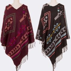 HOLIDAY SALE Print Poncho with Fringe Style this in many different ways! 100% acrylic. PLEASE DO NOT BUY THIS LISTING! Comment when you're ready to purchase  Sweaters Shrugs & Ponchos