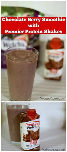 Chocolate Berry Smoothie with Chocolate Premier Protein Shakes at Target Have some fun with your protein shakes! Make this Chocolate Berry Smoothie with Chocolate Premier Protein Shakes! You can find them at Target! Premier Protein Shakes, Best Protein Shakes, Chocolate Protein Shakes, Chocolate Chocolate, Healthy Shakes, Protein Smoothie Recipes, Protein Powder Recipes, Protein Foods, Pure Protein