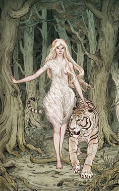 Themis, Goddess of Wild Things- love this idea and drawing (would obviously cloth the girl more) I would also add jade eyes to both the tiger and the girl (so they seem more connected and supernatural) and  I would try to make the tiger seem more black and white instead of that peachy color